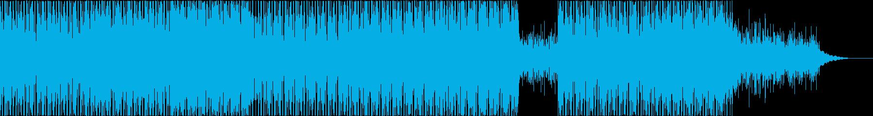ダークでサイバーなミドルテンポの電子音楽の再生済みの波形