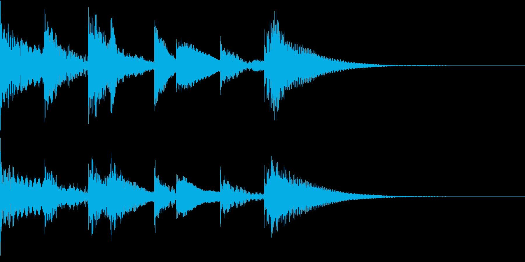 ラジオに合うマリンバの3秒ジングルの再生済みの波形