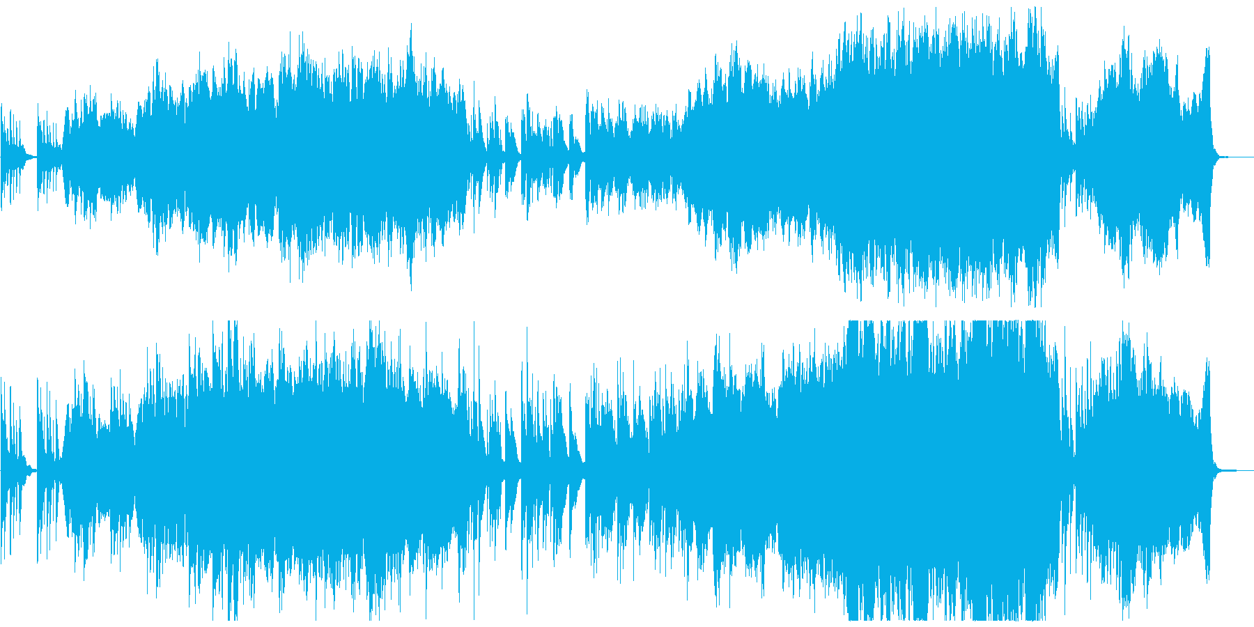 オーケストラとピアノの感動的なBGMの再生済みの波形