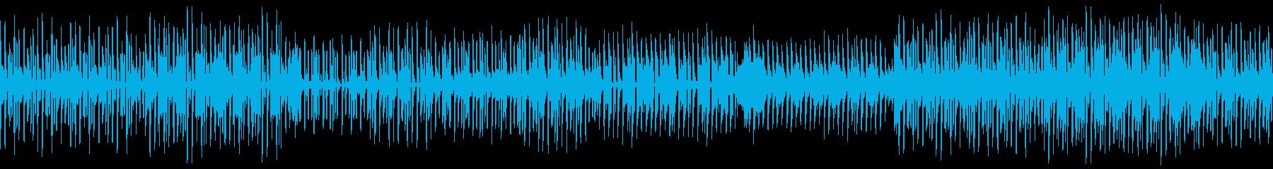 ソリッドな印象のレトロテクノBGMの再生済みの波形