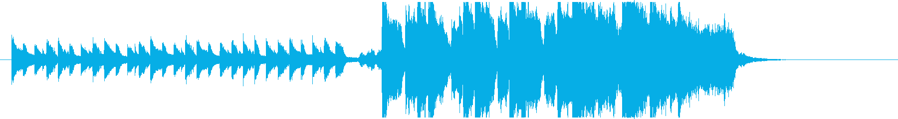 ピアノとオーケストラの二部構成のBGMの再生済みの波形
