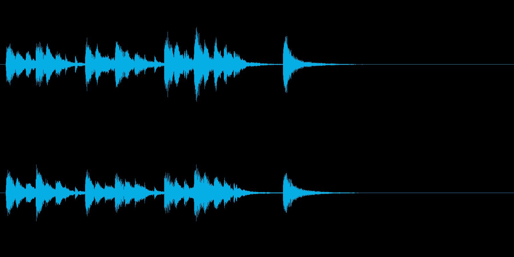 ピアノとストリングスのジングルの再生済みの波形