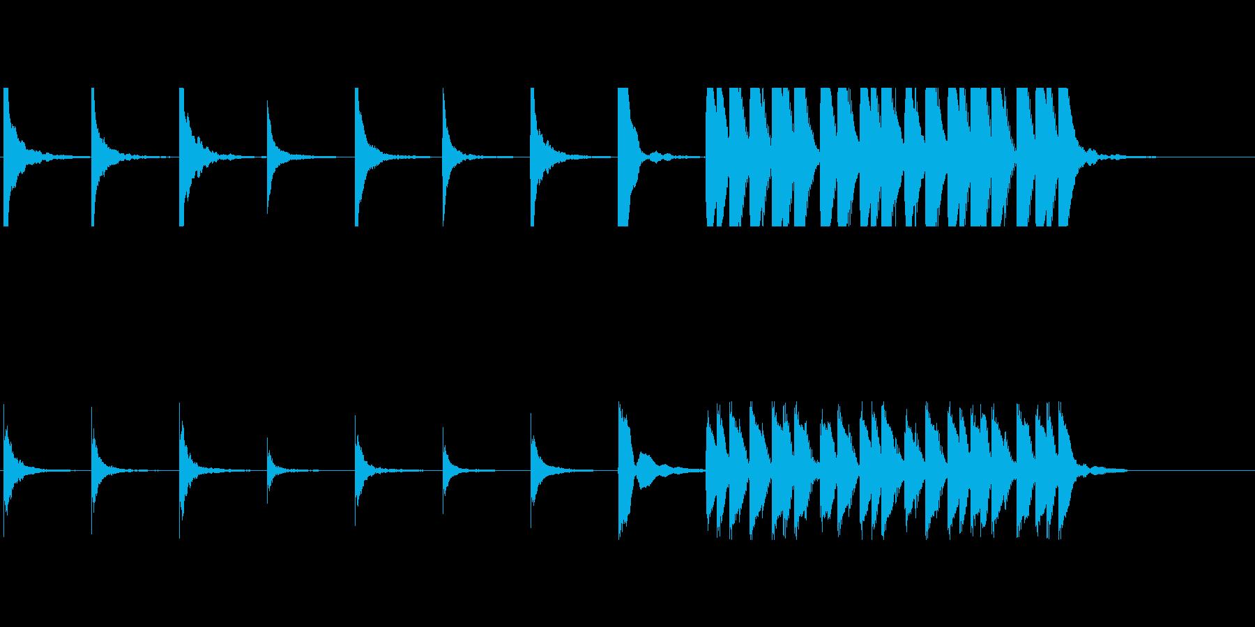 アフリカン木琴によるコミカルな音の再生済みの波形