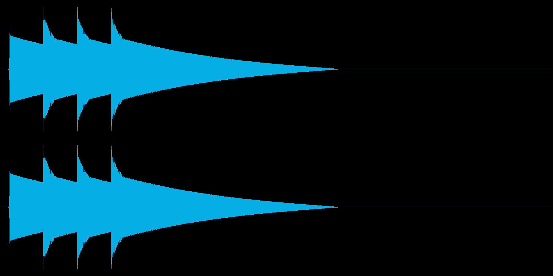 ピポピポーン(正解、高めの音)の再生済みの波形