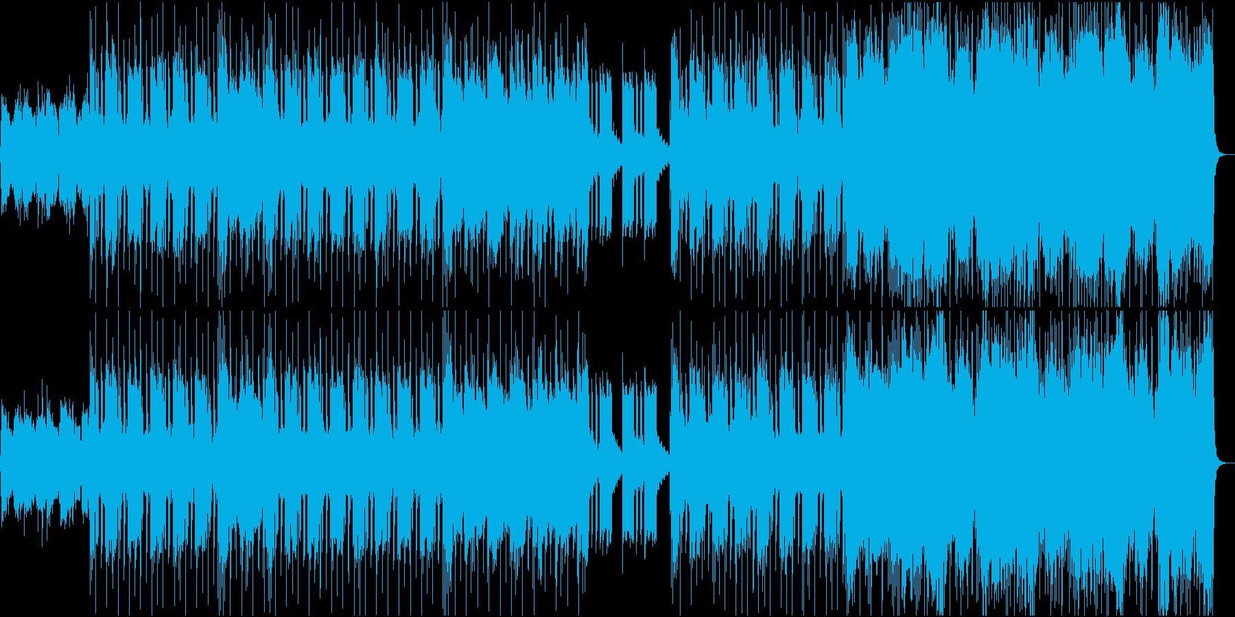 エレキギター、ベース、ドラム、シン...の再生済みの波形