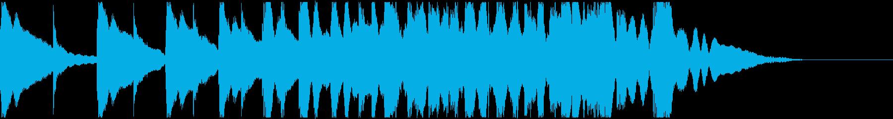 低い太鼓と高い太鼓が交互に次第に速く鳴るの再生済みの波形