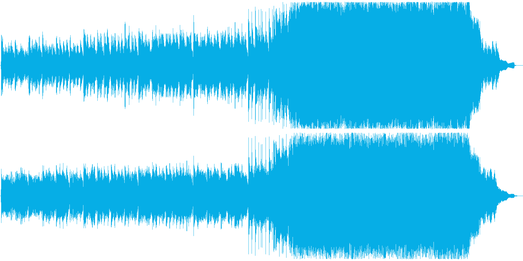 ストリングスとピアノのロックな曲の再生済みの波形