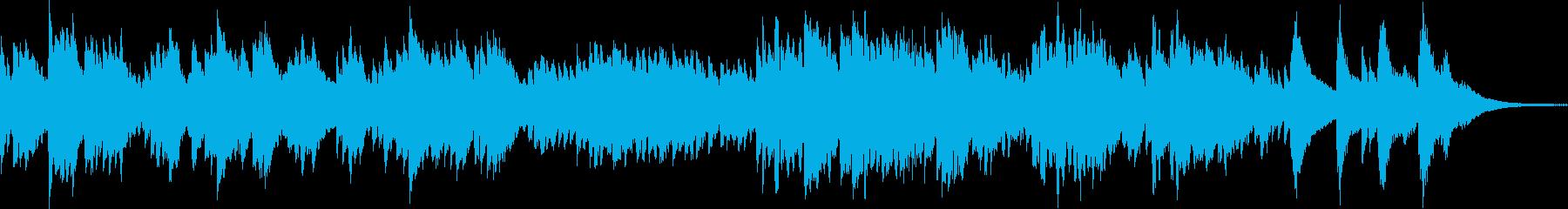 フルートとハープのゆっくりとした癒しの曲の再生済みの波形