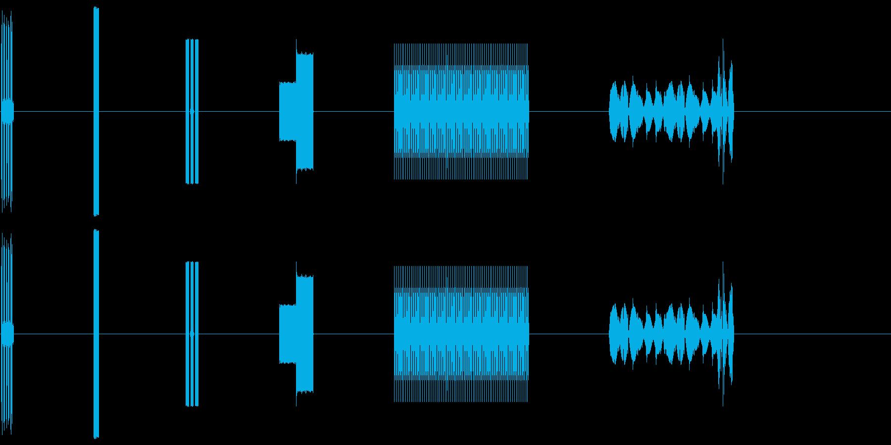 コンピューター画面のビープ音X6の再生済みの波形