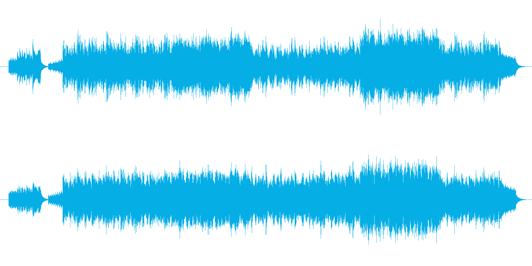 疾走感あふれる明るいオーケストラBGMの再生済みの波形