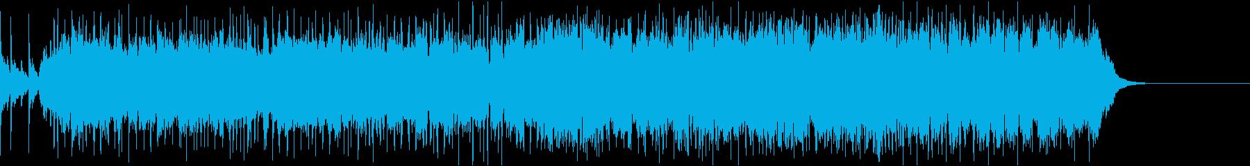 ハードなギターリフとドラムによるBGMの再生済みの波形