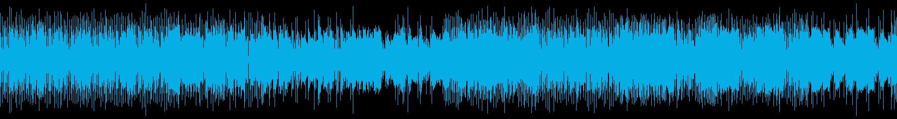 8bitとEベースと生ドラムのゲーム風曲の再生済みの波形