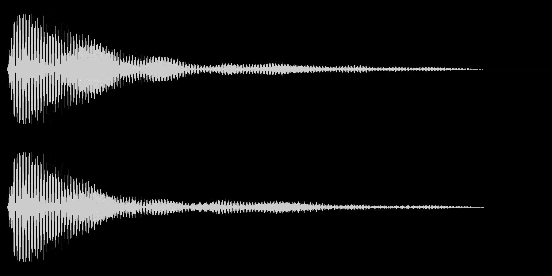 ポッやポーンと聞こえる1秒の効果音の未再生の波形