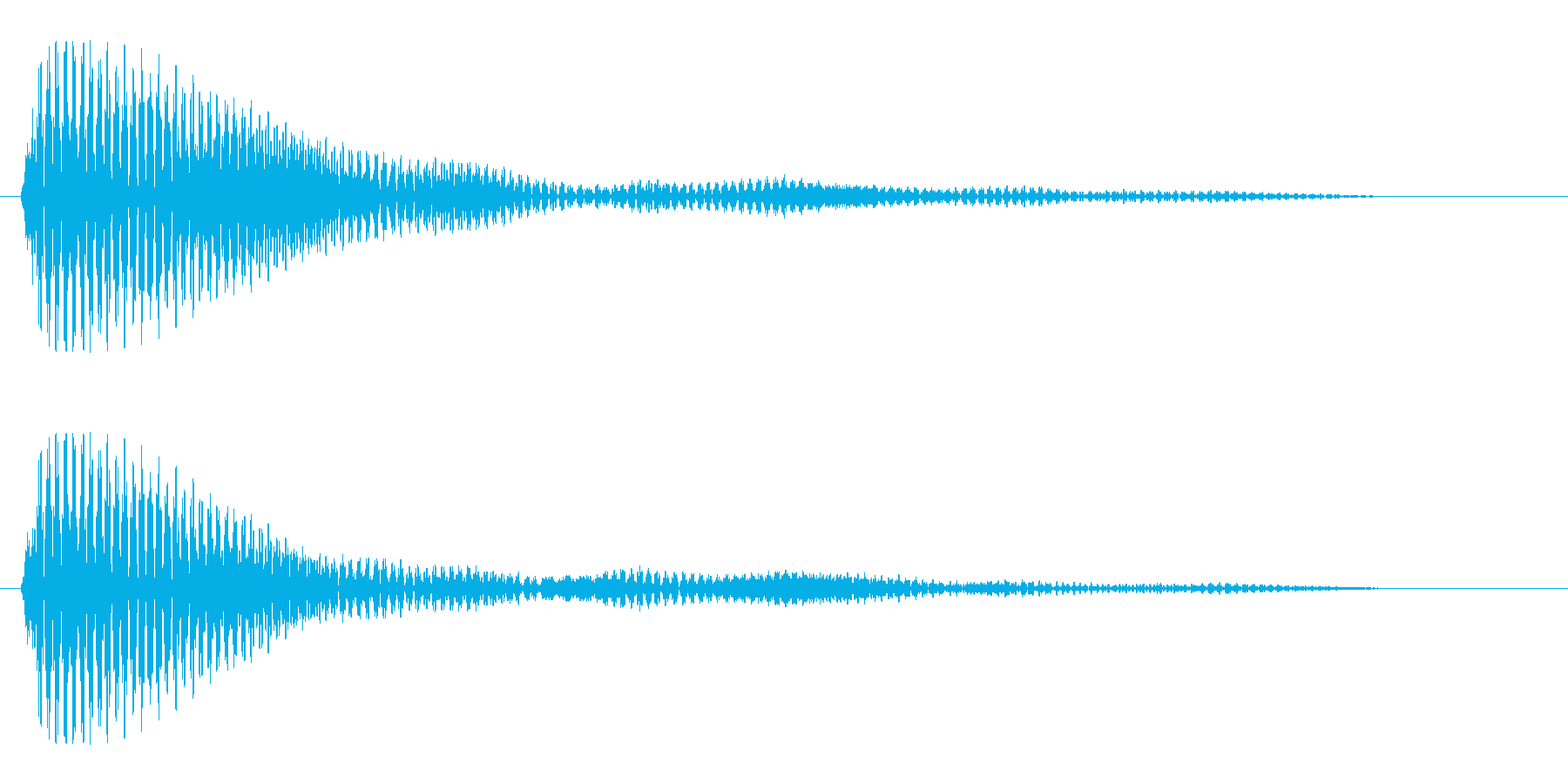 ポッやポーンと聞こえる1秒の効果音の再生済みの波形