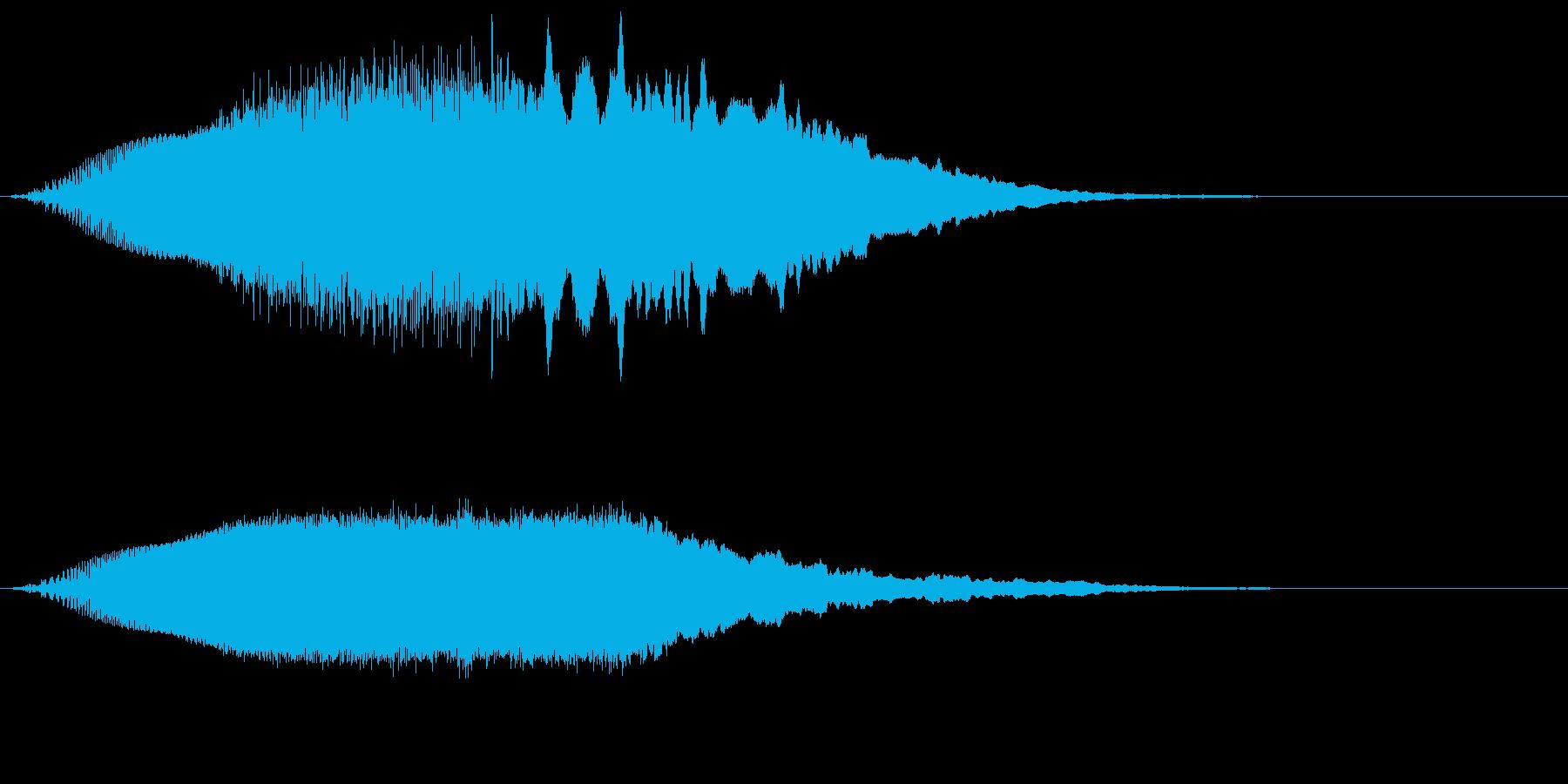 上昇していく効果音、レーザー音の再生済みの波形