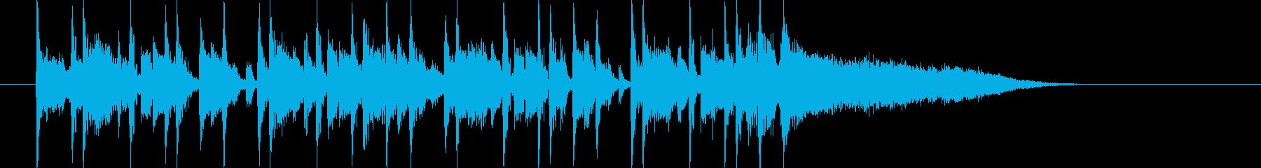 ミディアムテンポのテクノミュージックの再生済みの波形