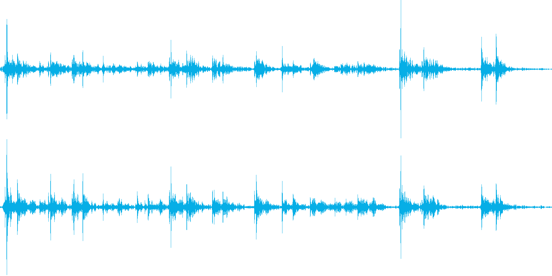 キーボードをタイピングするリアル効果音7の再生済みの波形