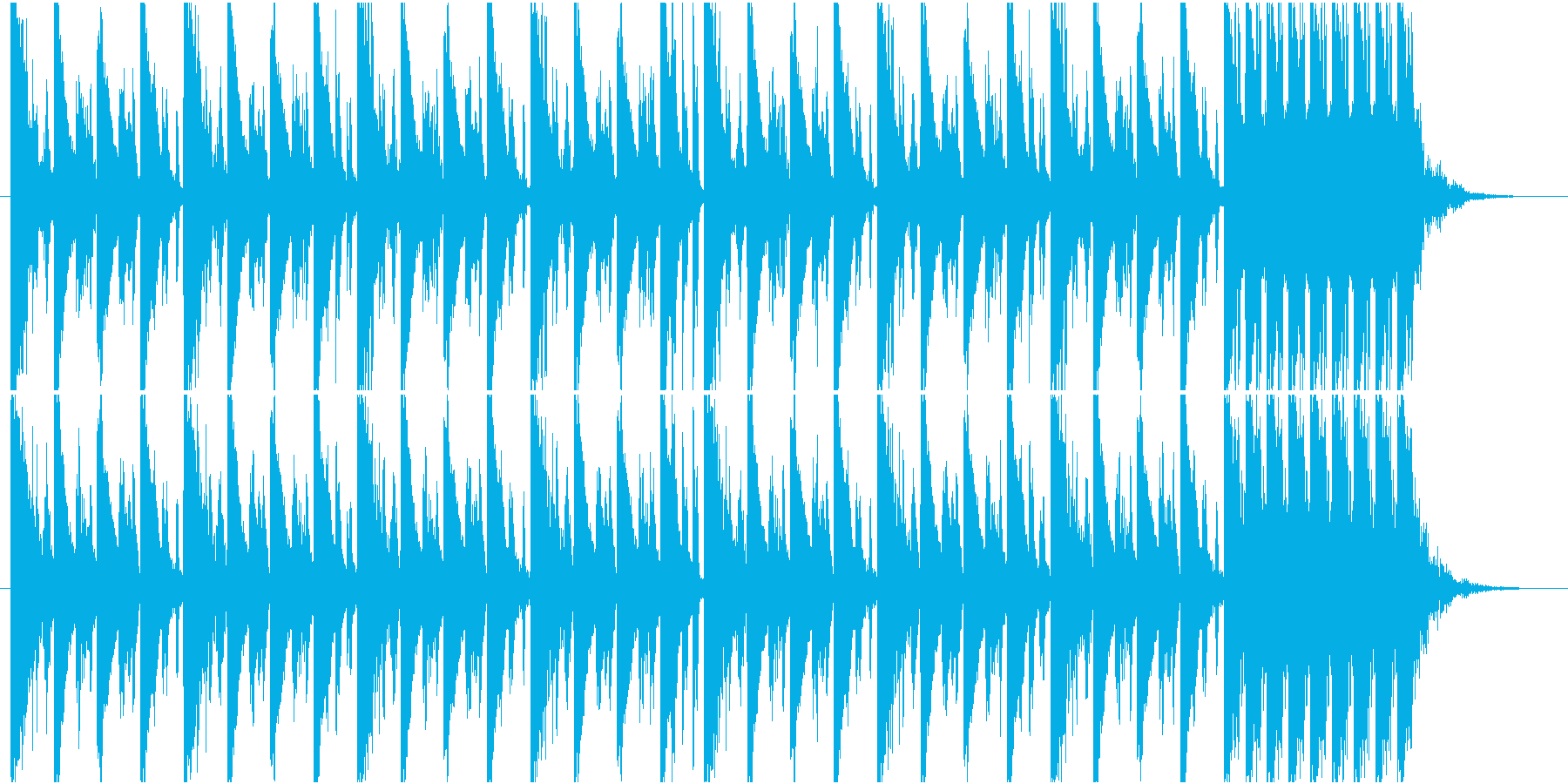 夜っぽい4つ打ちビートBGMの再生済みの波形
