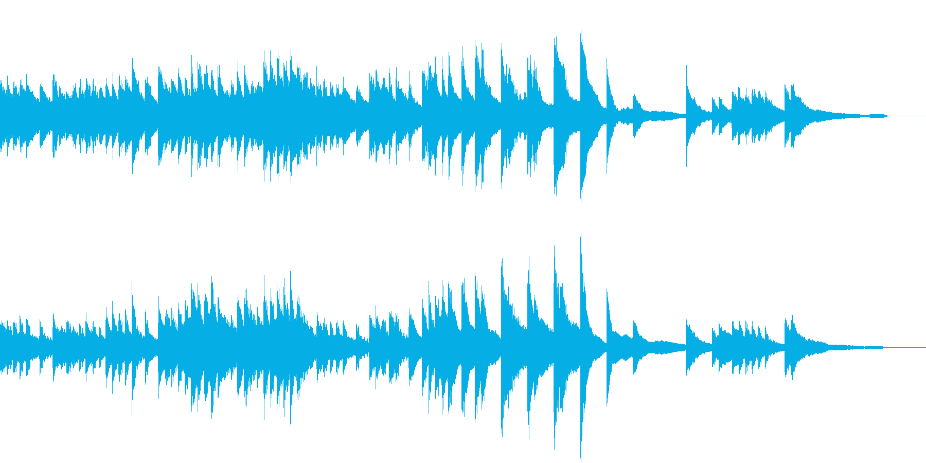 清くたくましく動き続けるピアノジングルの再生済みの波形
