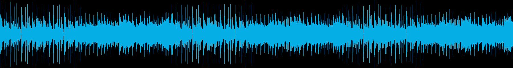 ビートと、うねるようなシンセサイザーの再生済みの波形