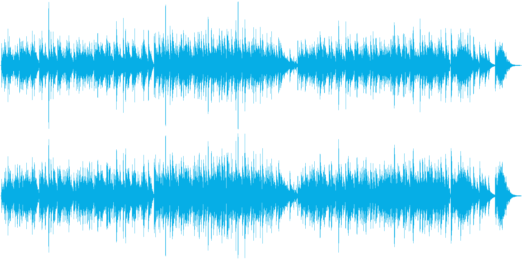ギターデュオの生演奏による感動的な曲の再生済みの波形