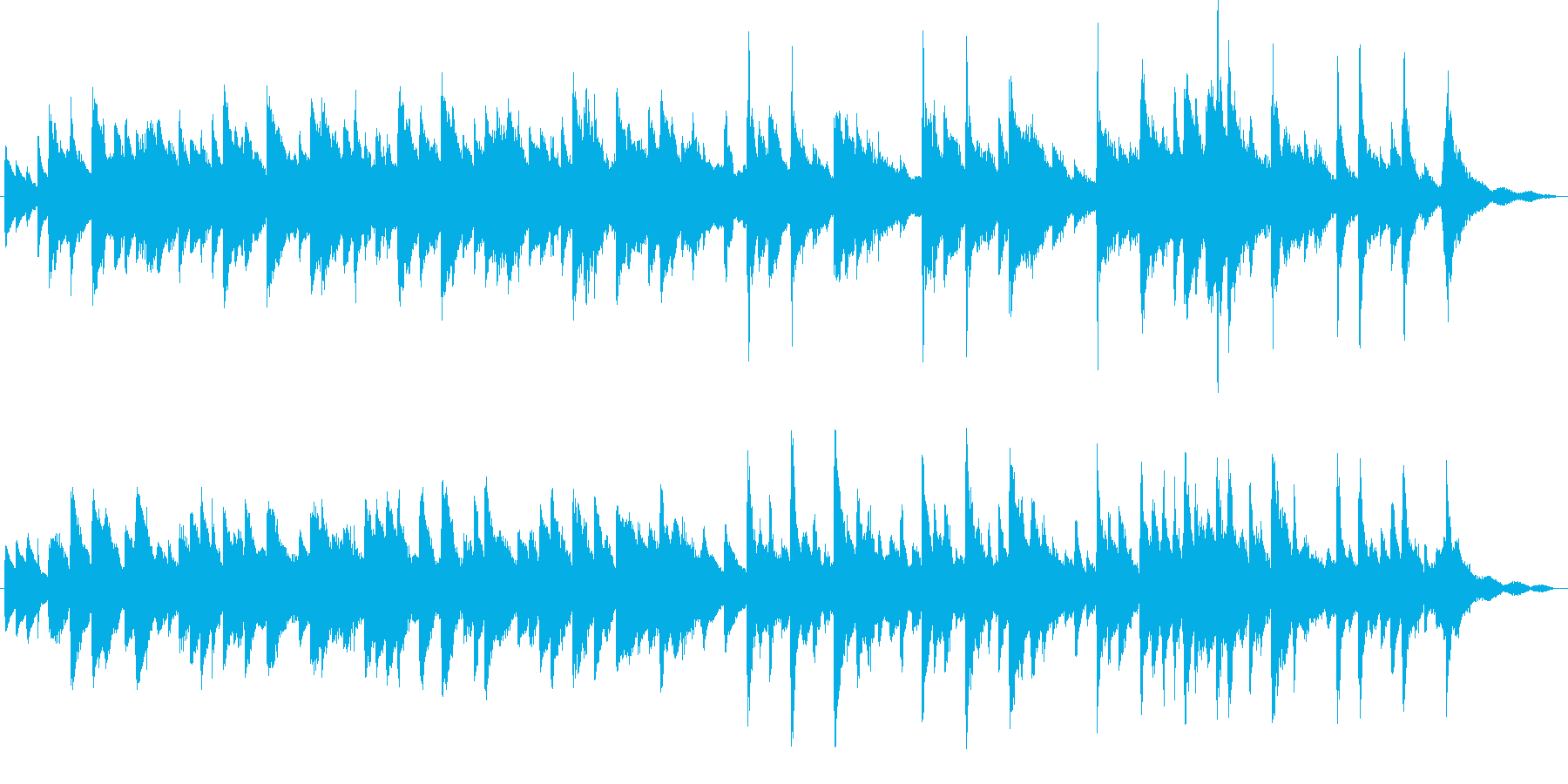 ピアノとギターによる懐かしいバラードの再生済みの波形
