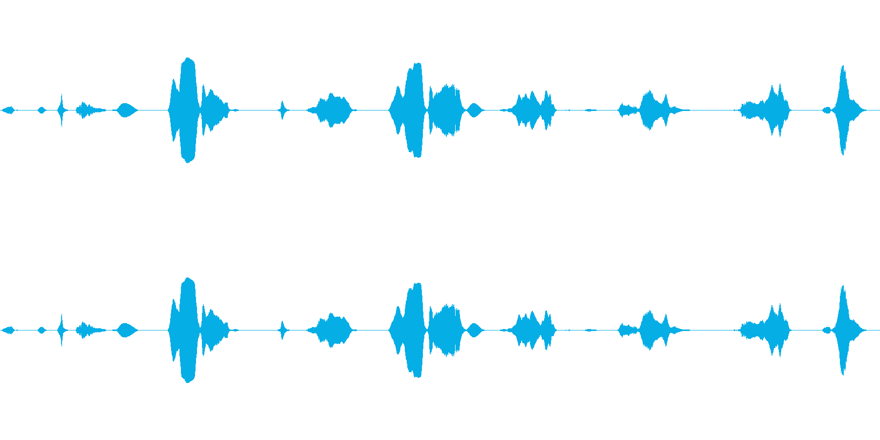 さまざまな音のきしみとうなりの再生済みの波形