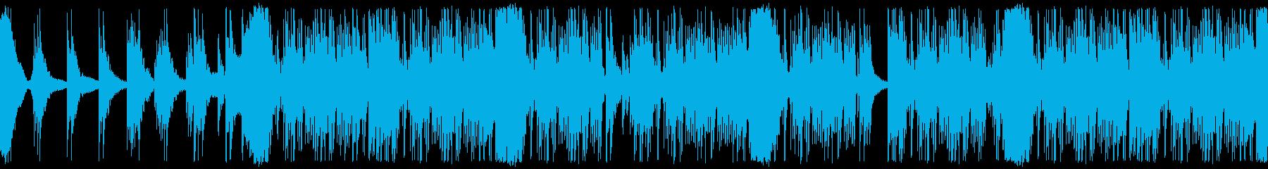 映画で緊迫したシーンに使われる打楽器群の再生済みの波形