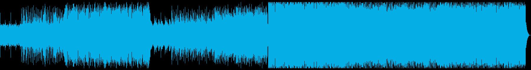 エレクトロ+バンドサウンドの激しめの曲の再生済みの波形